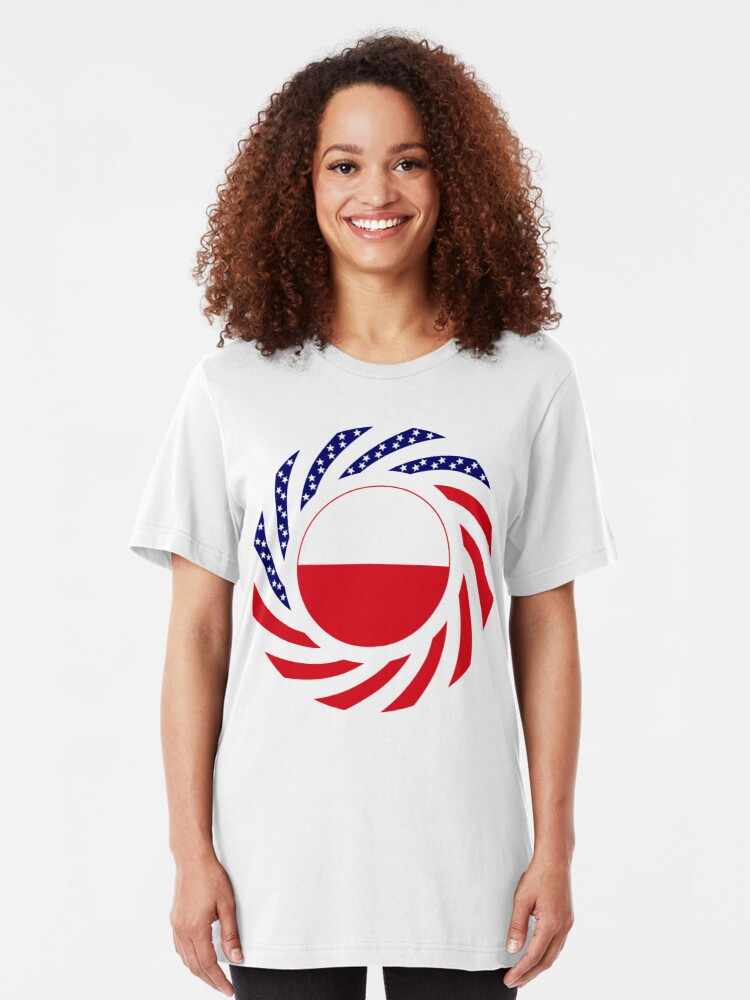 Alternate view of Polish American Multinational Patriot Flag Series Slim Fit T-Shirt