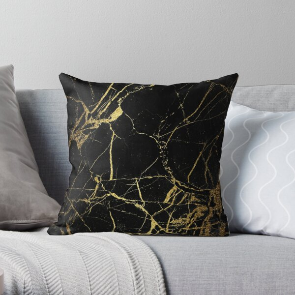 Black and gold Marble | Texture  Throw Pillow