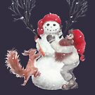 Gnome and squirrel building a snowman - Christmas by Lisbeth Thygesen