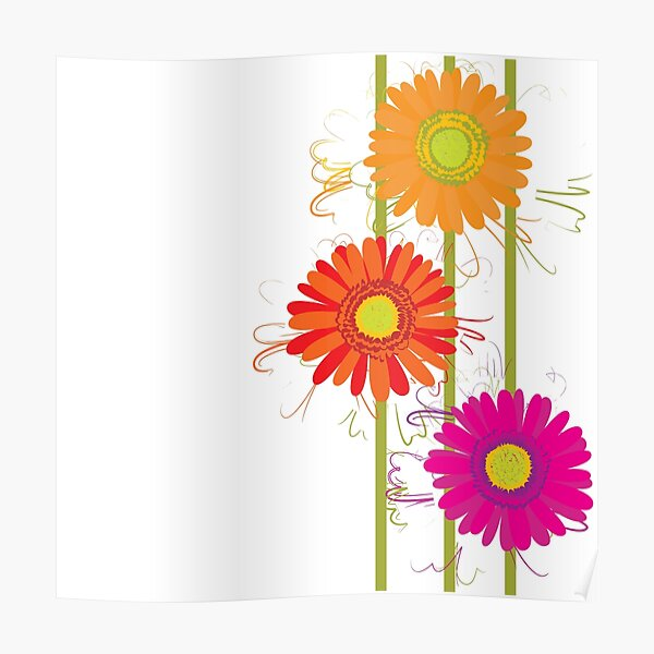Gegbera flowers colorful decorative textile Poster