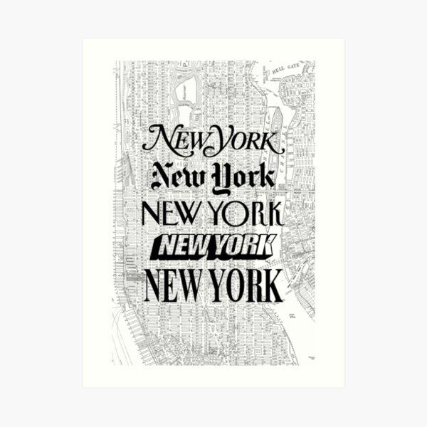New York City - Vintage Street Map Typography Art Print