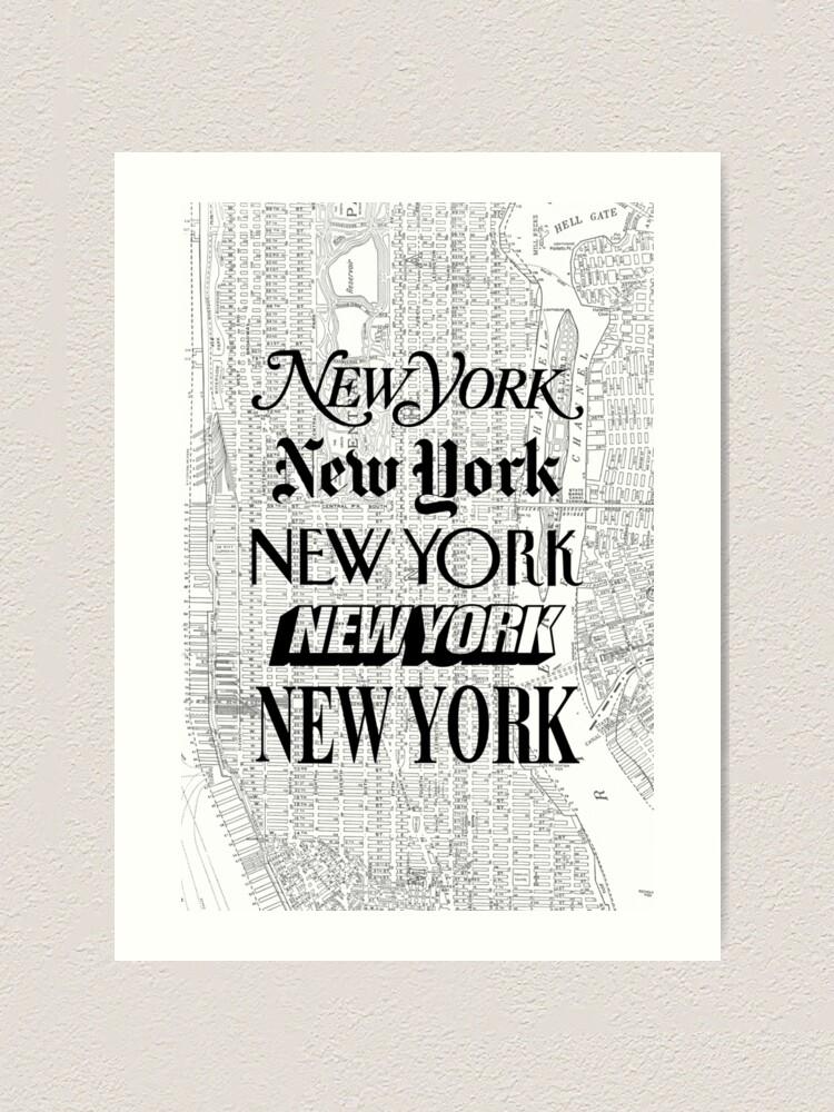 Alternate view of New York City - Vintage Street Map Typography Art Print