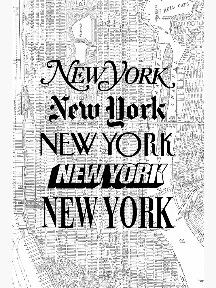 New York City - Vintage Street Map Typography by MotivatedType