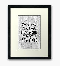 Lámina enmarcada Nueva York - Vintage Street Map Typography