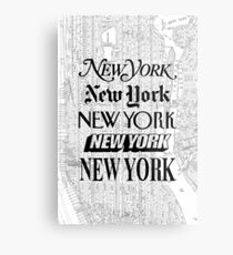New York City - Weinlese-Straßenkarte-Typografie Metallbild