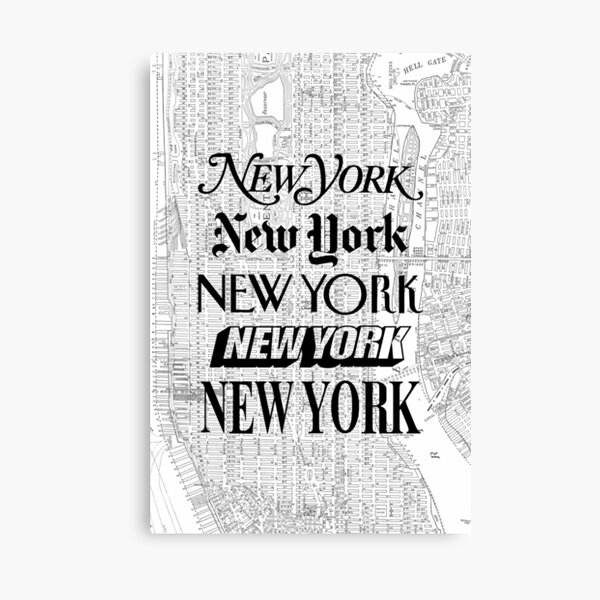 New York City - Vintage Street Map Typography Canvas Print