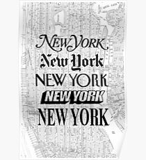 New York City - Vintage Street Map Typography Poster