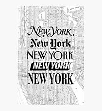 New York City - Vintage Street Map Typography Photographic Print