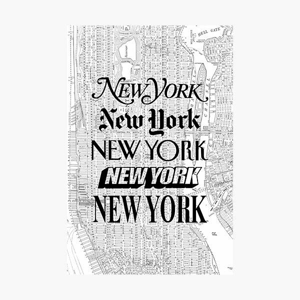 New York City - Vintage Street Map Typography Photographic Print