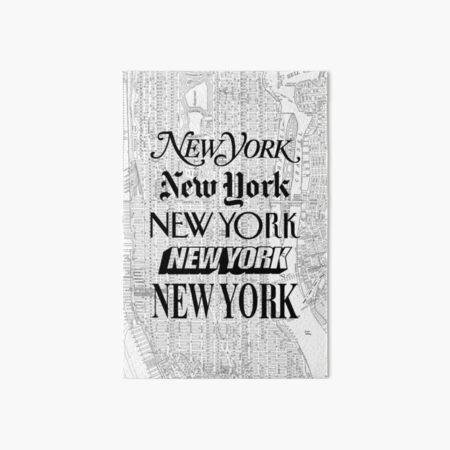New York City - Vintage Street Map Typography Art Board Print