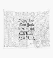 New York City - Vintage Street Map Typography Wall Tapestry