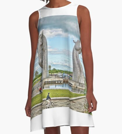 the Kelpies , Helix Park, Grangemouth A-Line Dress