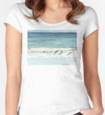 Beach, Birds and Stillness Women's Fitted Scoop T-Shirt