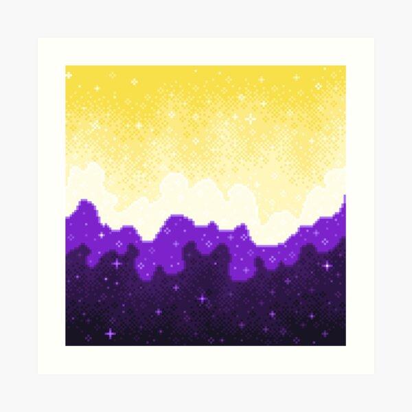 Nonbinary Pride Flag Galaxy Art Print
