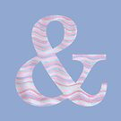 Initial & Ampersand Rose Quartz And Serenity Pink Blue Wavy Lines by theartofvikki