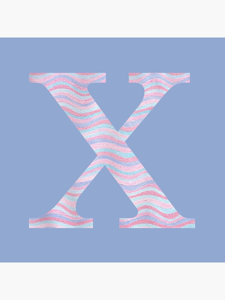 Initial X Rose Quartz And Serenity Pink Blue Wavy Lines by theartofvikki