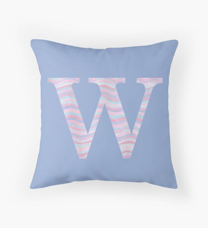 Initial W Rose Quartz And Serenity Pink Blue Wavy Lines Throw Pillow