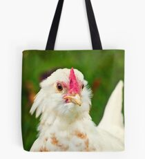 White Barbu d'Uccle bantam chicken Tote Bag