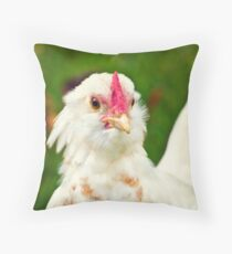 White Barbu d'Uccle bantam chicken Throw Pillow