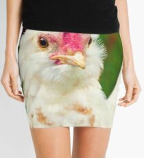 White Barbu d'Uccle bantam chicken Mini Skirt