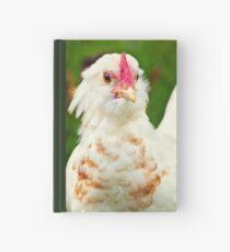 White Barbu d'Uccle bantam chicken Hardcover Journal