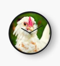 White Barbu d'Uccle bantam chicken Clock
