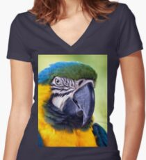 Macaw Parrot Women's Fitted V-Neck T-Shirt