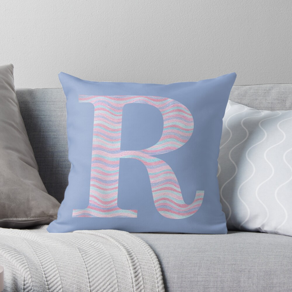 Initial R Rose Quartz And Serenity Pink Blue Wavy Lines Throw Pillow