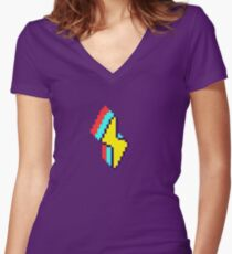 Low-Res Bolt Women's Fitted V-Neck T-Shirt