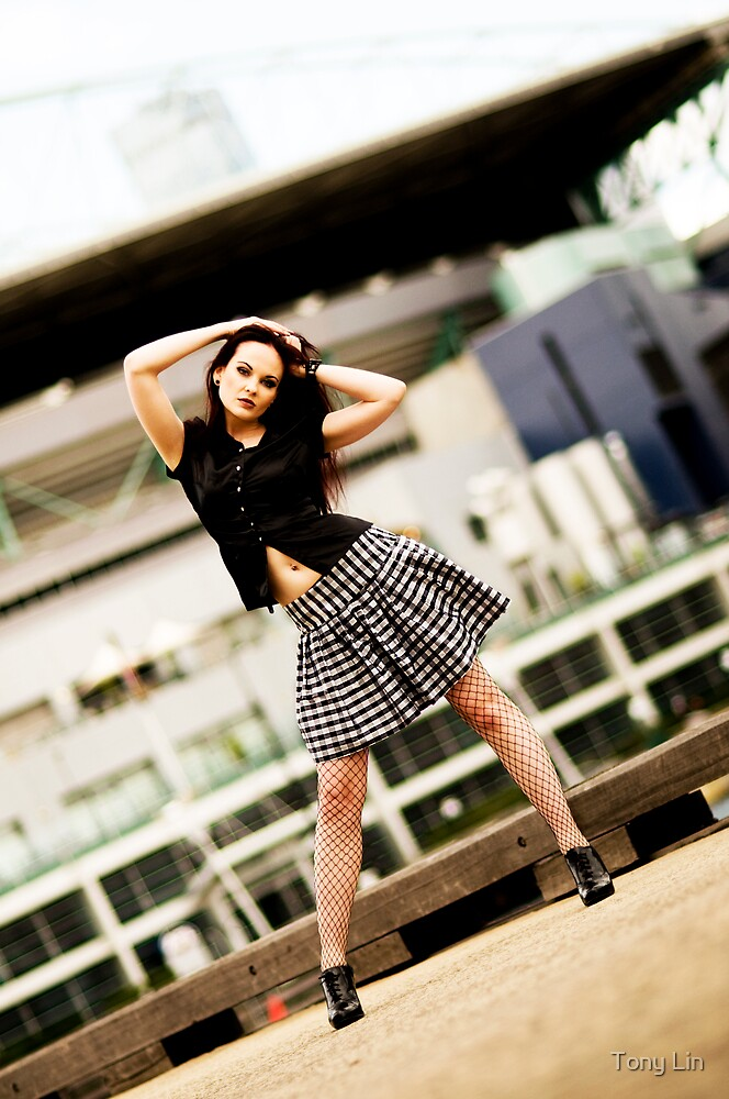 Anne Duffy Fashion Shoot Checkered Skirt by Tony Lin