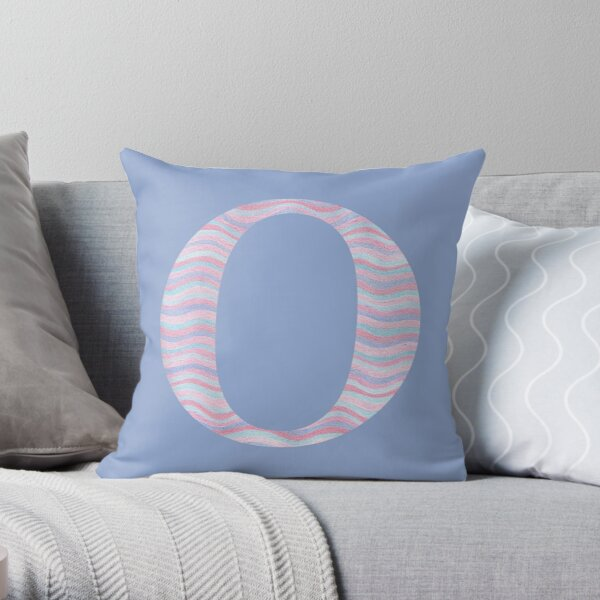 Initial O Rose Quartz And Serenity Pink Blue Wavy Lines Throw Pillow