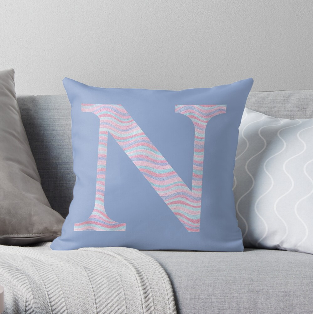 Initial N Rose Quartz And Serenity Pink Blue Wavy Lines Throw Pillow