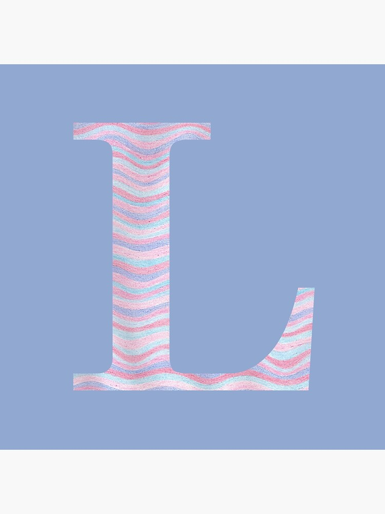 Initial L Rose Quartz And Serenity Pink Blue Wavy Lines by theartofvikki