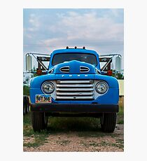 Vintage Blue Ford Truck Photographic Print