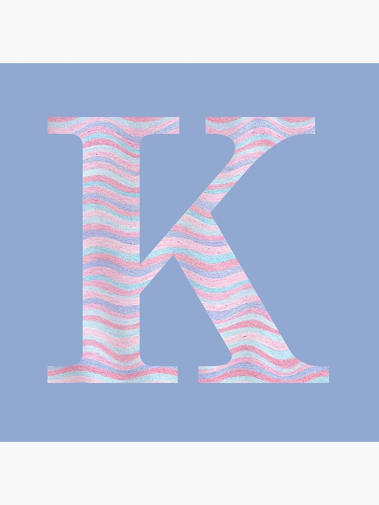 Initial K Rose Quartz And Serenity Pink Blue Wavy Lines by theartofvikki