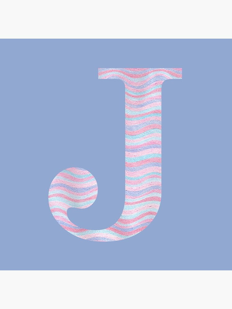 Initial J Rose Quartz And Serenity Pink Blue Wavy Lines by theartofvikki