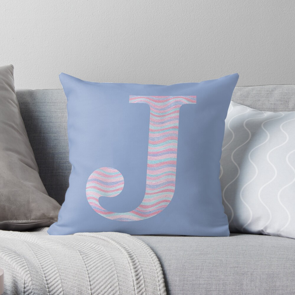 Initial J Rose Quartz And Serenity Pink Blue Wavy Lines Throw Pillow