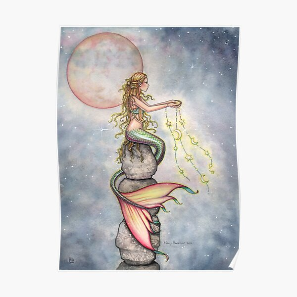 """""""Star Filled Sky"""" Mermaid Art by Molly Harrison Poster"""