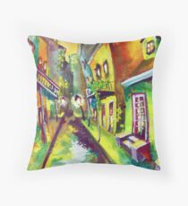 Burgundy Street Throw Pillow