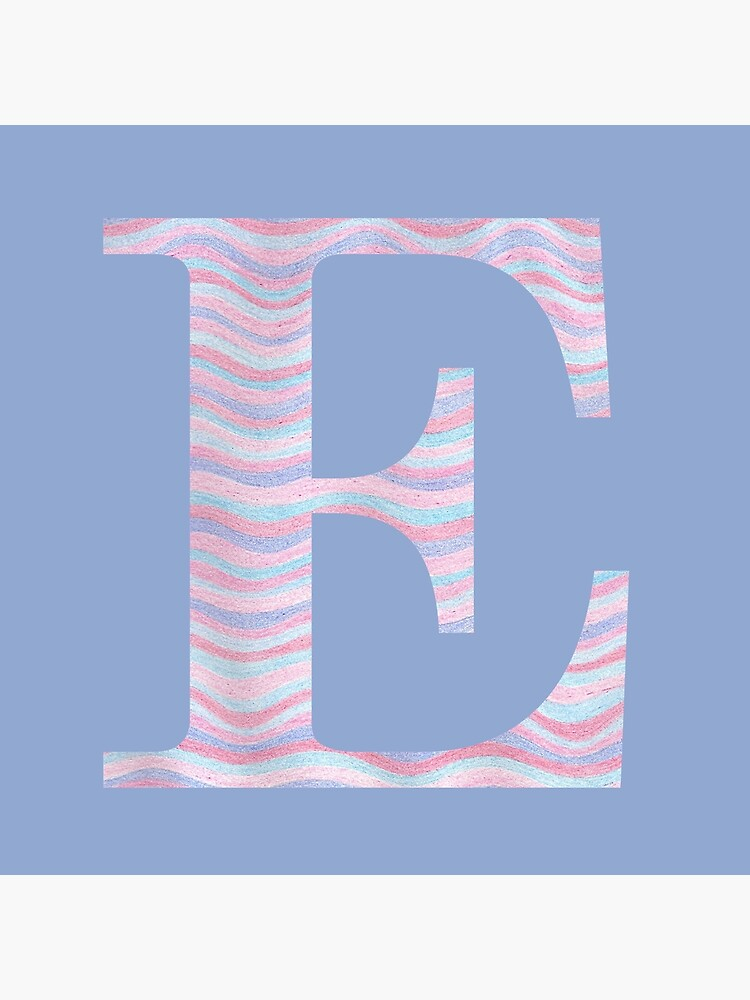 Initial E Rose Quartz And Serenity Pink Blue Wavy Lines by theartofvikki