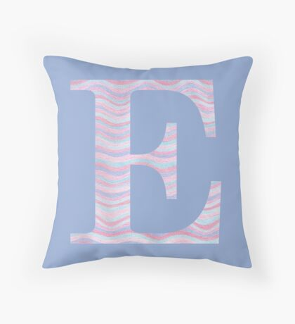 Initial E Rose Quartz And Serenity Pink Blue Wavy Lines Throw Pillow