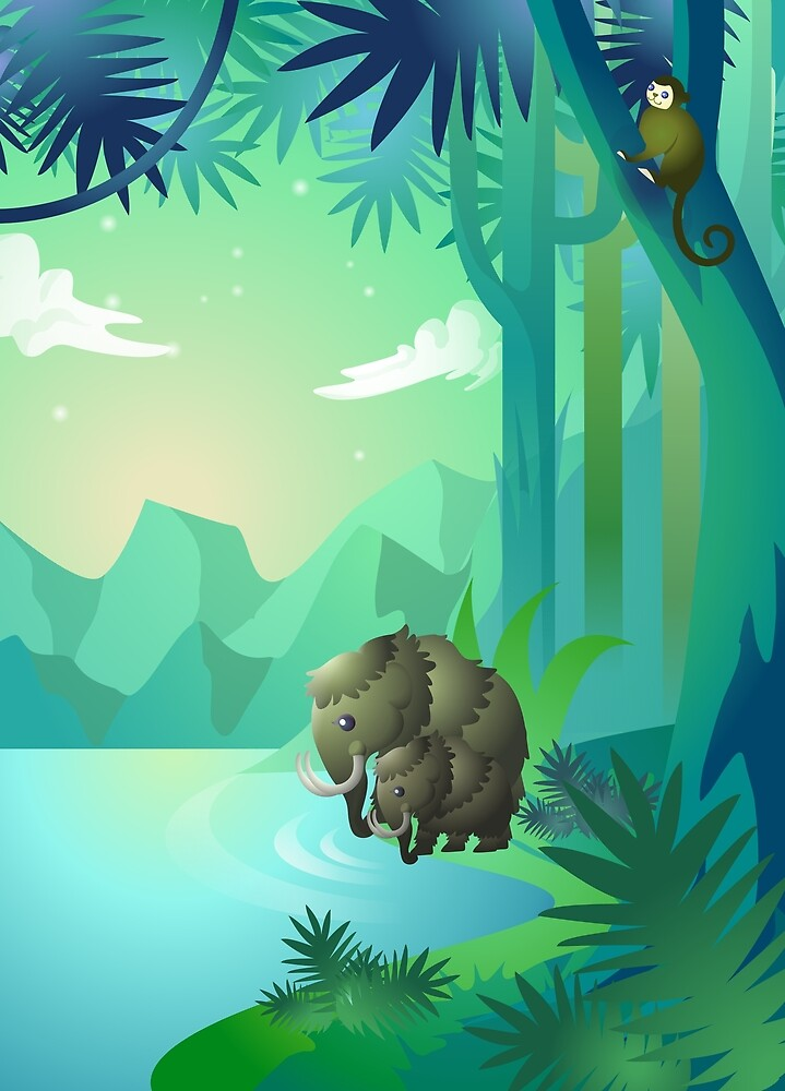 Mammoths in Jungle by Strackspel