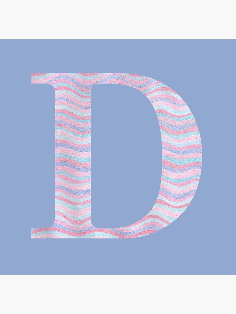 Initial D Rose Quartz And Serenity Pink Blue Wavy Lines by theartofvikki