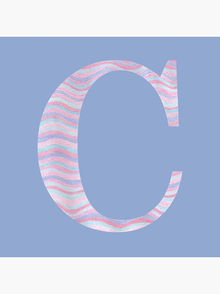 Initial C Rose Quartz And Serenity Pink Blue Wavy Lines by theartofvikki