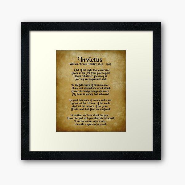 Invictus, Ernest Henley poem on parchment Framed Art Print
