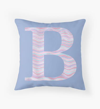 Initial B Rose Quartz And Serenity Pink Blue Wavy Lines Throw Pillow