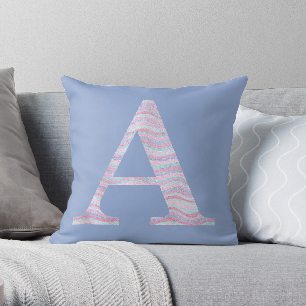 Initial A Rose Quartz And Serenity Pink Blue Wavy Lines Throw Pillow