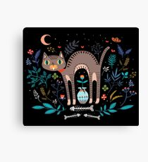 Floral and Cat at night Canvas Print