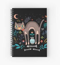 Floral and Cat at night Spiral Notebook
