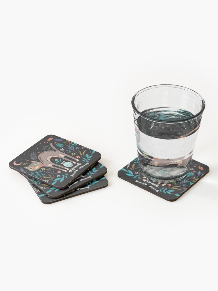 Alternate view of Floral and Cat at night Coasters (Set of 4)